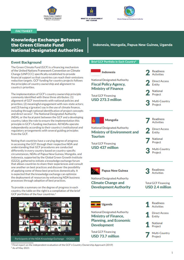 Factsheet Summary: Knowledge Exchange on National Access to the Green Climate Fund